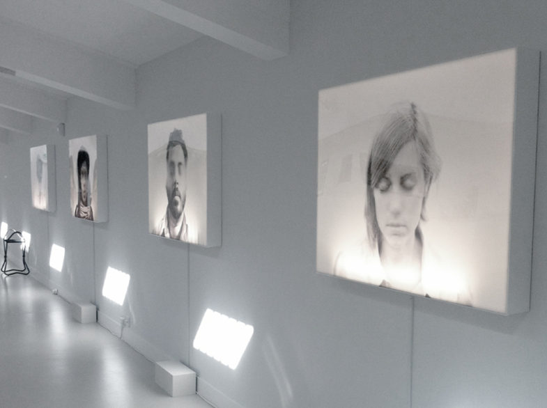 Exhibition shot: The Breath Collection [Lightboxes, duratran prints, 841 x 1189mm]. World Event Young Artists, Lakeside Arts Centre, Nottingham 2012