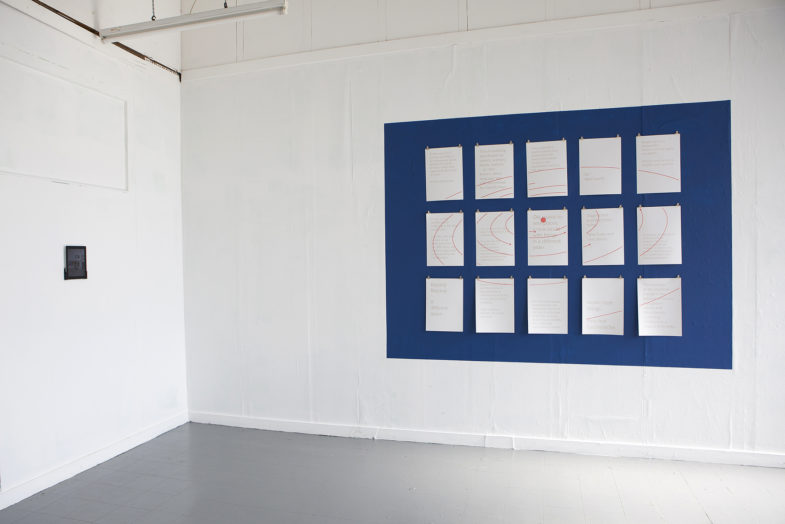 Notes for a new world order: Portal #1 [iPad, blue paint, A3 risoprints, visions of 17 women and nonbinary people in gold, planetary movements of Trappist-1 in red, golden nails, bulldog clips]. Lifeboat Studio Residency, London 2017